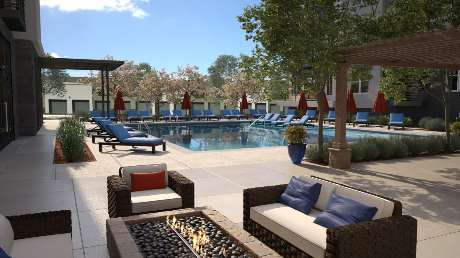 Pool & sundeck at Avenida Lakewood senior living apartments in Lakewood, Colorado
