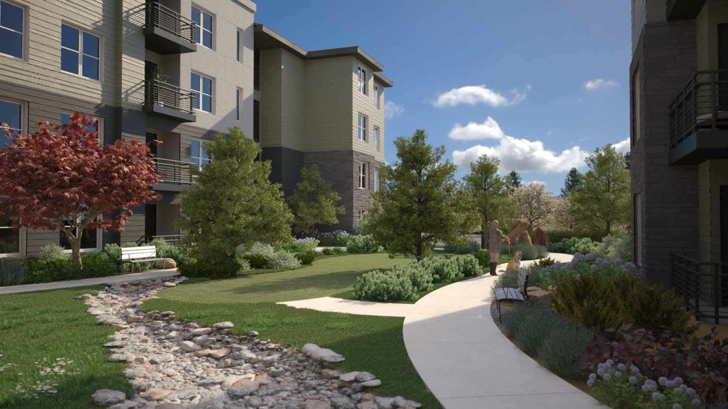 Spacious outdoor areas at Avenida Lakewood senior living apartments in Lakewood, Colorado