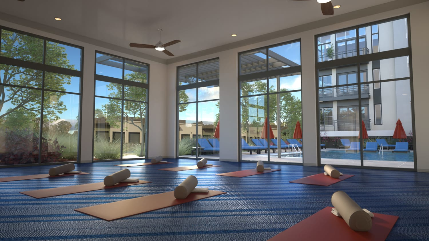 Yoga studio at Avenida Lakewood senior living apartments in Lakewood, Colorado