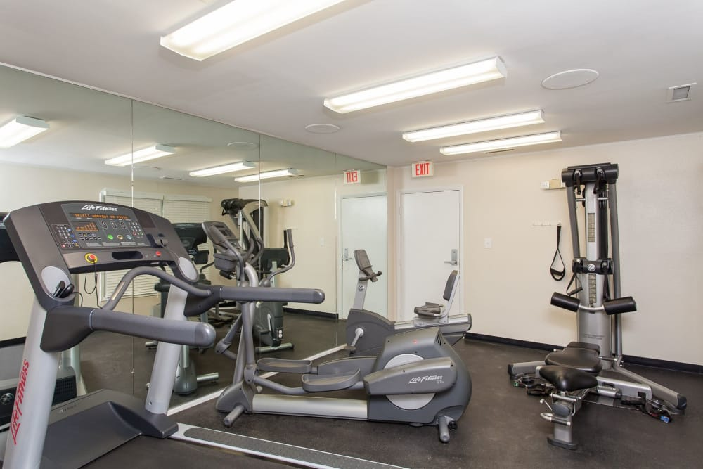 Fitness center at apartments in Midlothian, Virginia