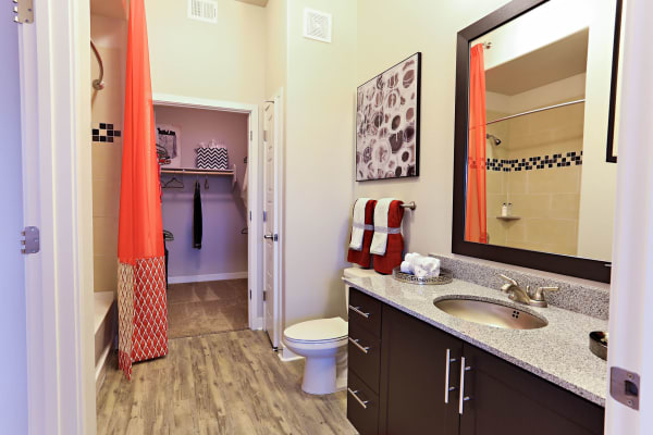 Large bathroom with granite countertop and walk-in closet in model home at The Hyve in Tempe, Arizona