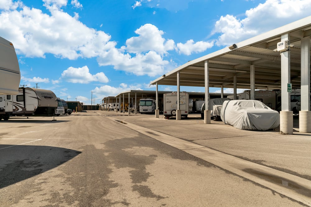 Outdoor storage for RV's and cars at Store It All Self Storage - Converse in Converse, Texas