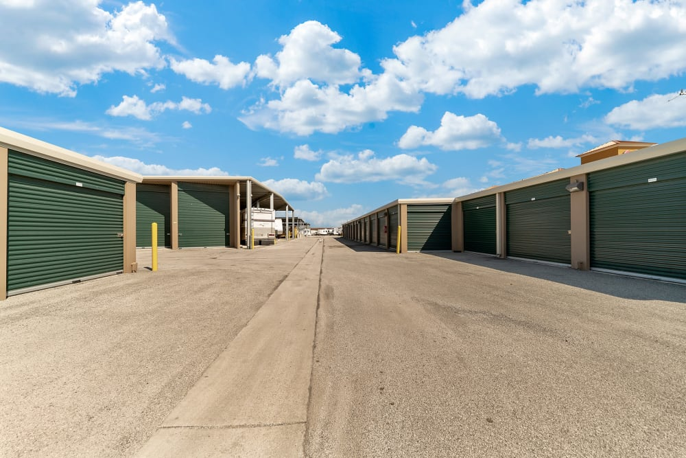 An outdoor storage unit at Store It All Self Storage - Converse in Converse, Texas