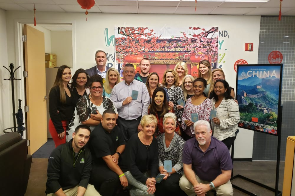 Group picture of the Inspired Destinations staff at Inspired Living Sugar Land in Sugar Land, Texas.