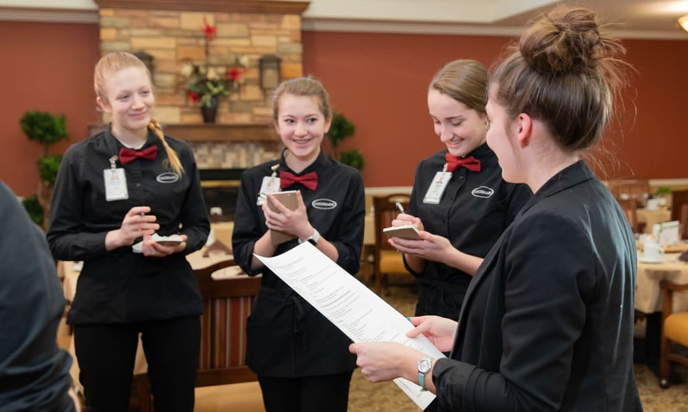 A group of dining servers at Touchmark on West Prospect in Appleton, Wisconsin