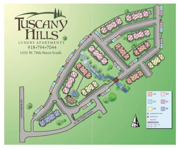 Site map for Tuscany Hills in Tulsa, Oklahoma