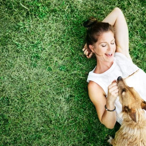 Resident laying on the grass with her dog at Glen Hollow Apartments in Croydon, Pennsylvania