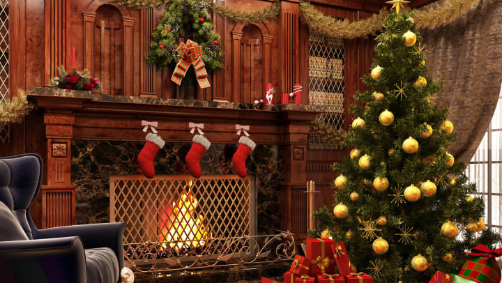 Beautiful Christmas decorations in a den with a wooden mantle fireplace