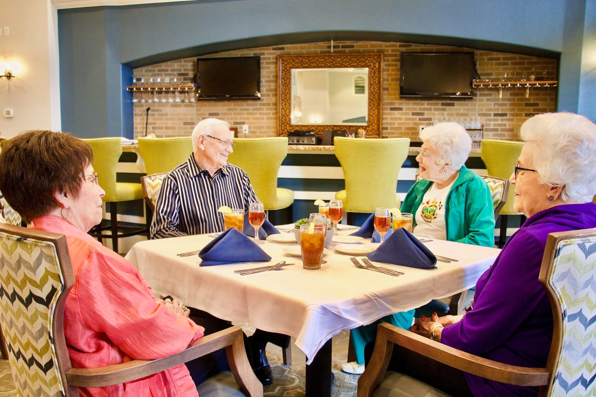 A group having a meal at The Landing at Stone Oak in San Antonio, Texas