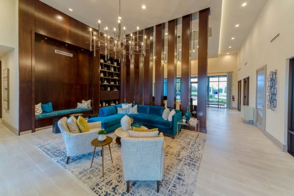 Elegant foyer area with modern furniture managed by WRH Realty Services, Inc