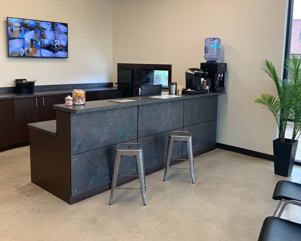 Leasing desk at A3 Urban Storage in Dallas, Texas