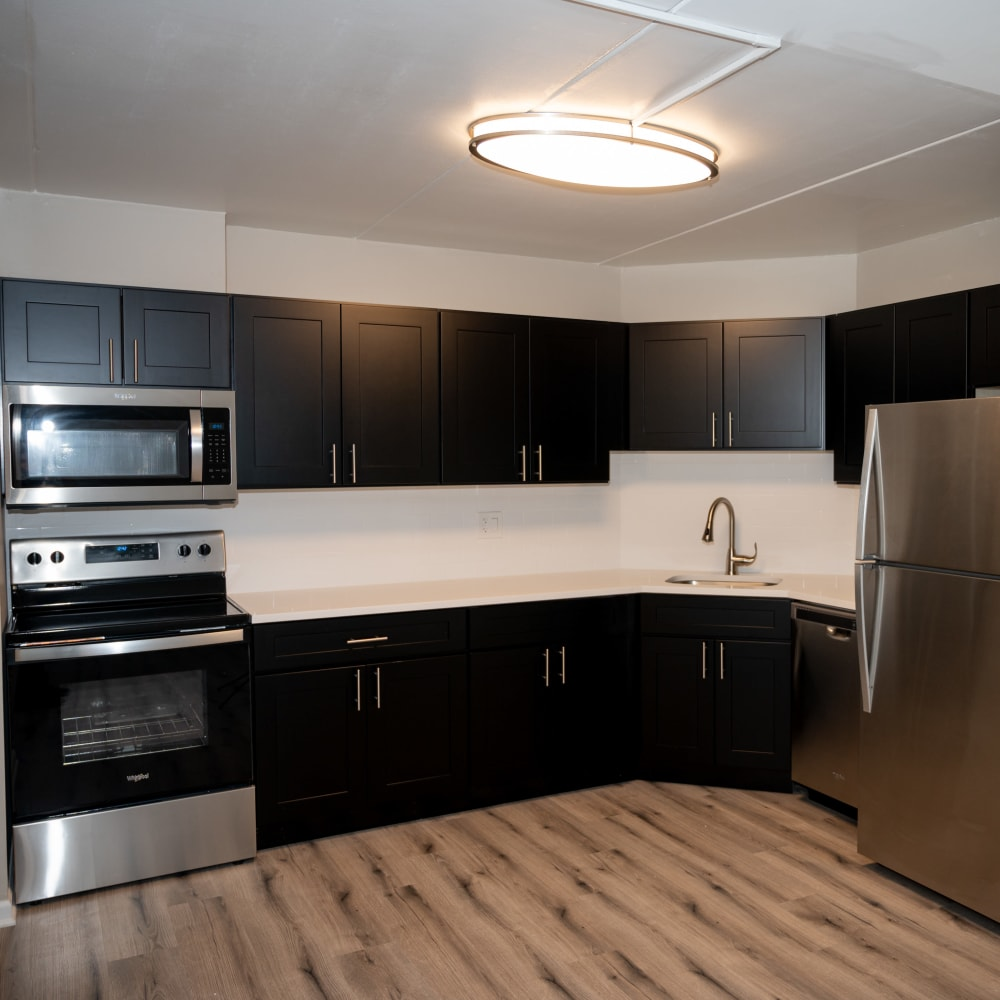 Bright kitchen at Mandalane Apartments in Wheeling, Illinois