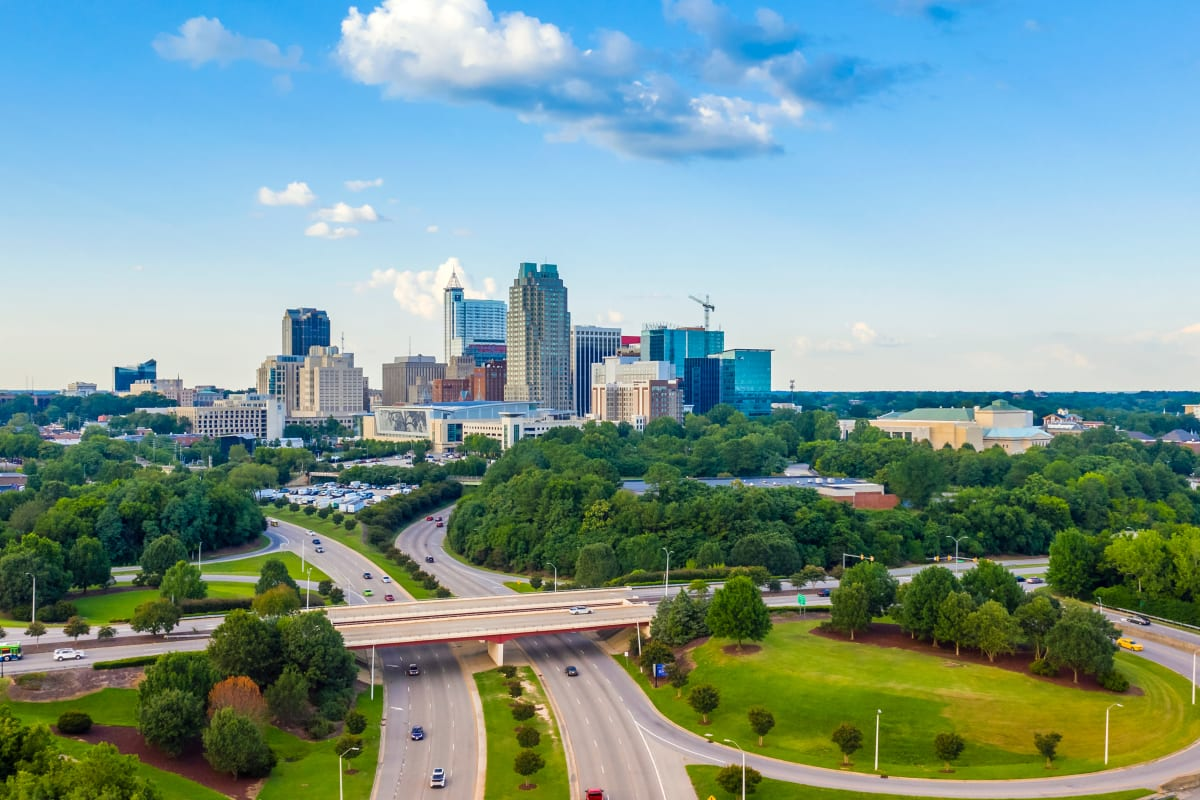 Aerial view of downtown Raleigh, North Carolina