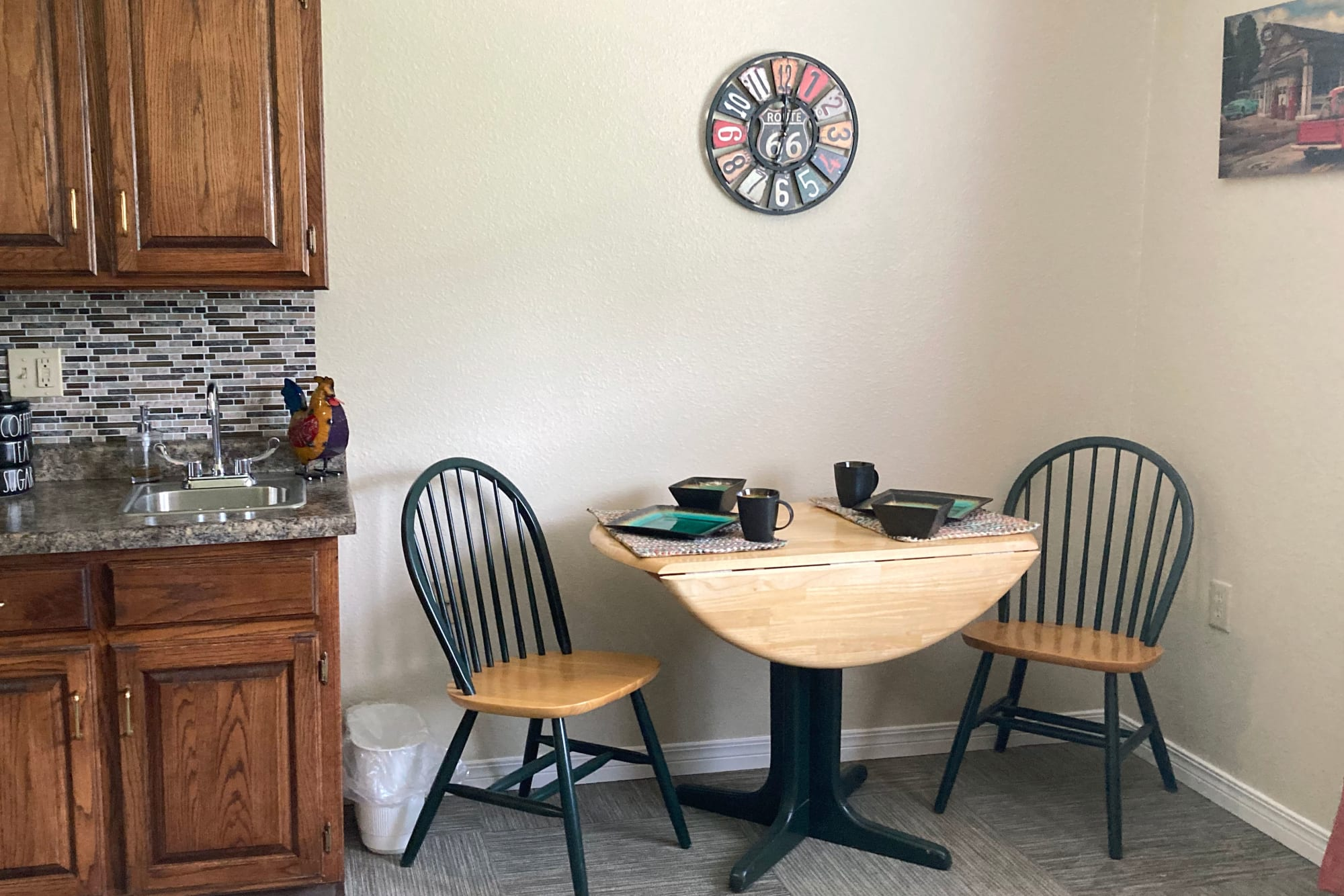 Dining area in apartment at Homestead House in Beatrice, Nebraska