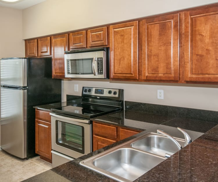 Stainless-steel appliances and granite countertops in model home's kitchen at Rosemont at Olmos Park in San Antonio, Texas