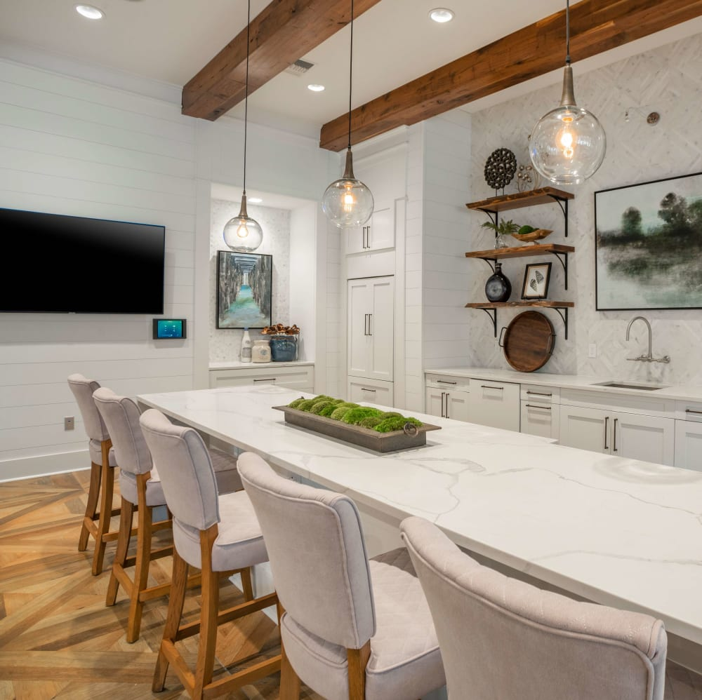 Resident kitchen with bar seating and a flat-screen TV at Elevate at Brighton Park in Summerville, South Carolina