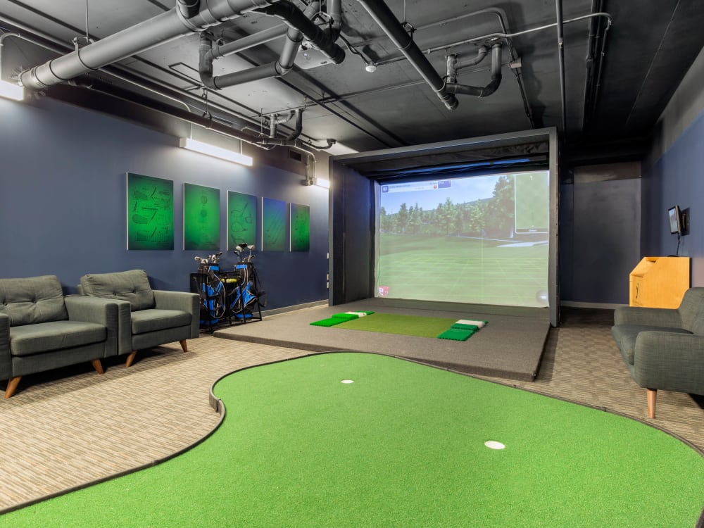 Golf simulation room at HERE Champaign in Champaign, Illinois