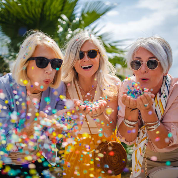 Resident friends having fun at Monte Vista Village in Lemon Grove, California.
