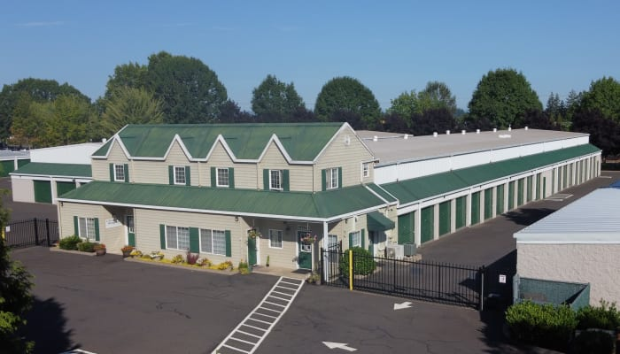 Aerial view of A Storage Place with drive-up storage units and electronic gated access in Tualatin, Oregon