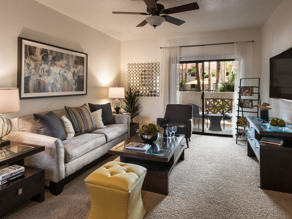 Model living room at San Prado in Glendale, Arizona