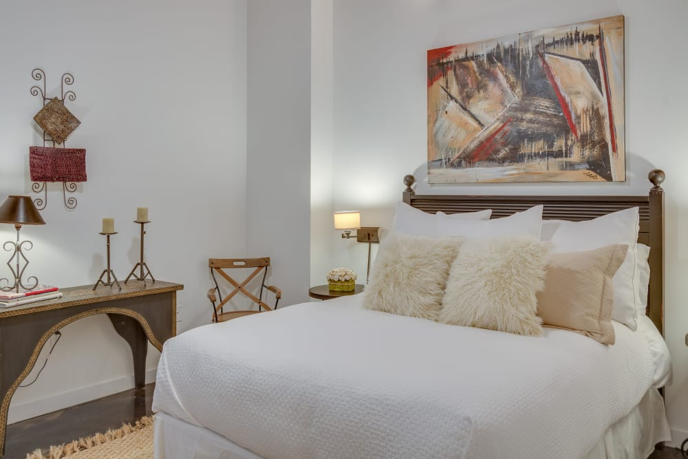 Model bedroom at The Lofts Of Greenville in Greenville, South Carolina