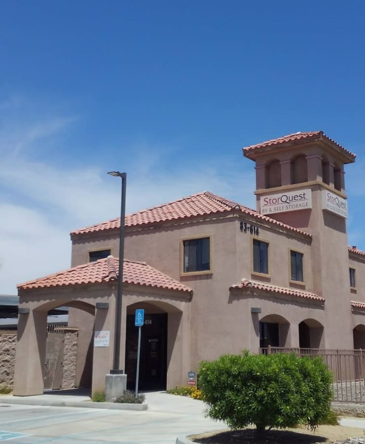 The exterior of the main entrance at StorQuest RV/Boat and Self Storage in Indio, California