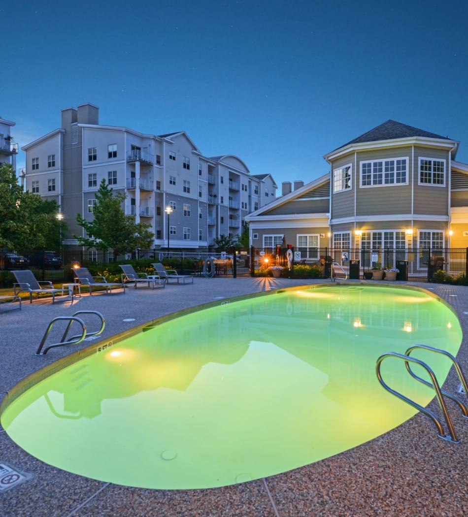 Large outdoor swimming pool overlooking units at Sofi Danvers in Danvers, Massachusetts