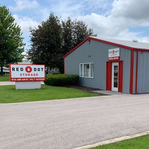 Outdoor storage units at Red Dot Storage in New Lenox, Illinois