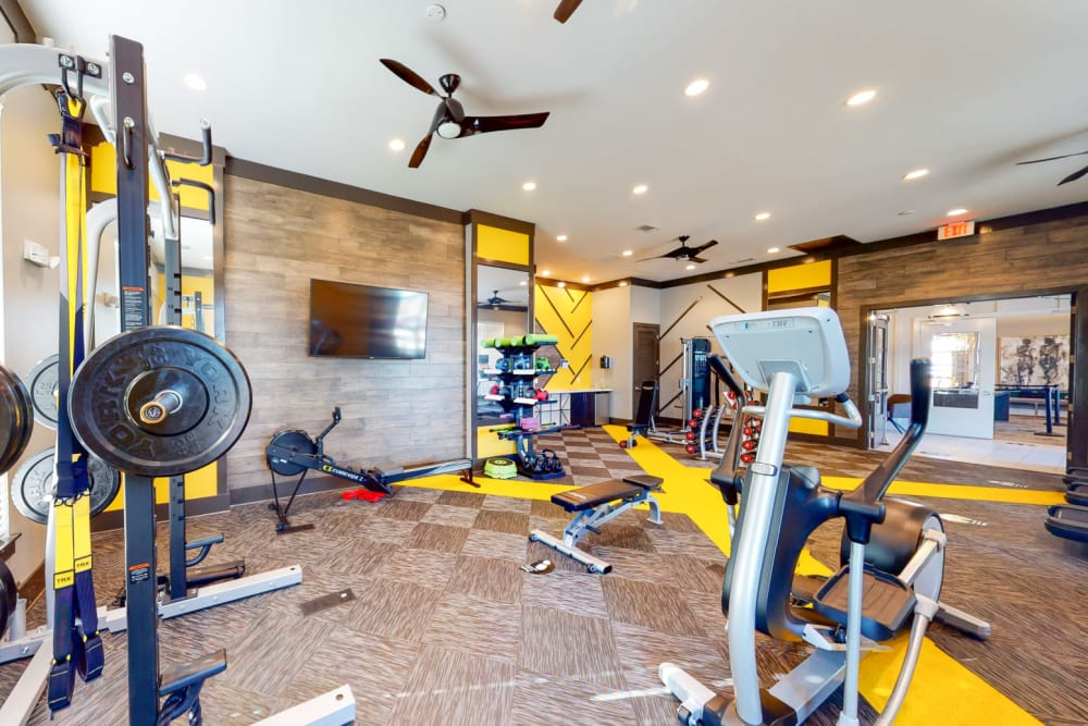 Well-equipped onsite fitness center at The Palmer in Charlotte, North Carolina