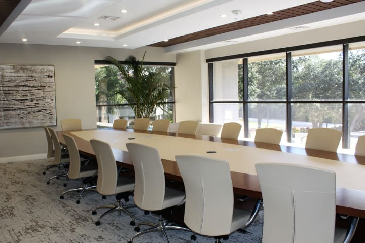 The boardroom at the new Discovery Senior Living corporate headquarters in Bonita Springs, Florida.