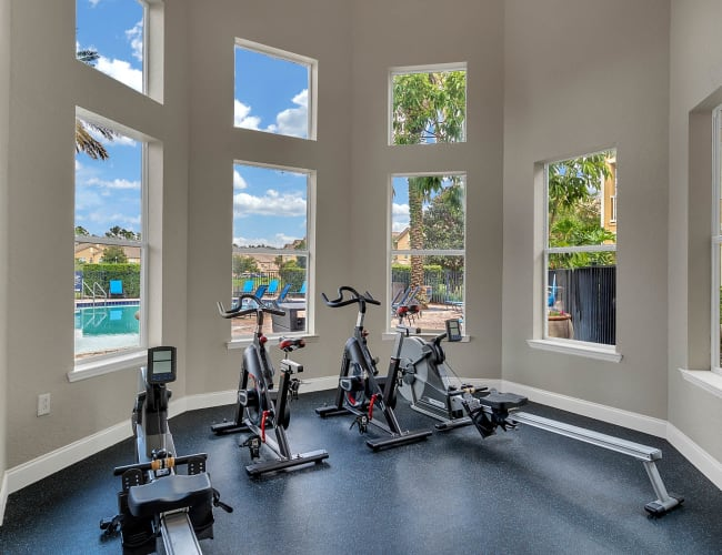 Fitness center for residents at Palms at World Gateway in Orlando, Florida