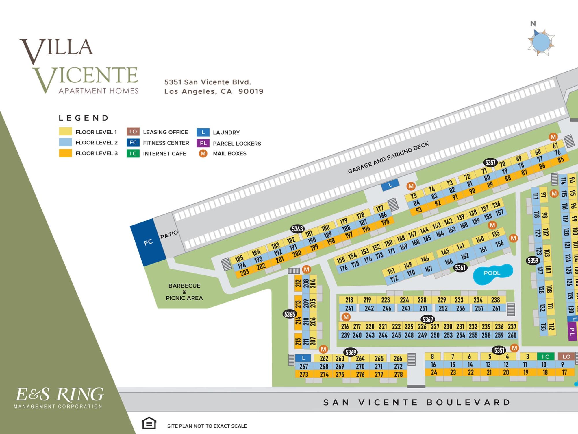 Site plan for Villa Vicente in Los Angeles, California