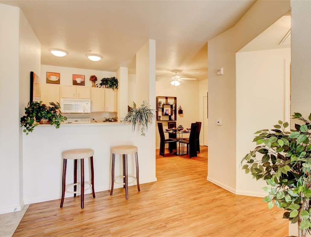 Interior of model home showcasing hardwood floors at The Highlands at Spectrum in Gilbert, Arizona