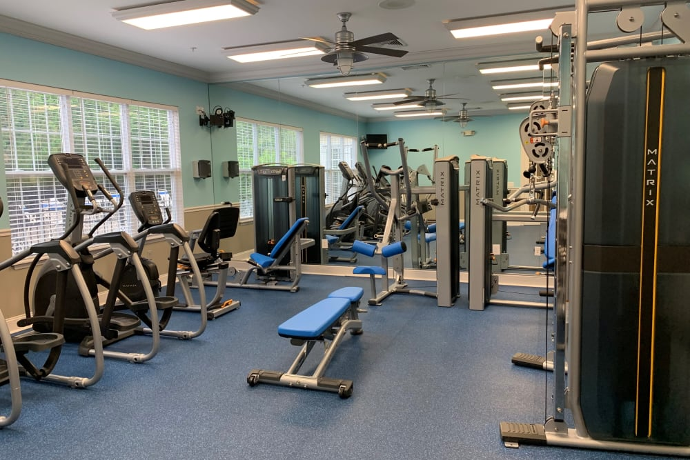 The onsite gym at The Landings Apartments in Clifton Park, New York