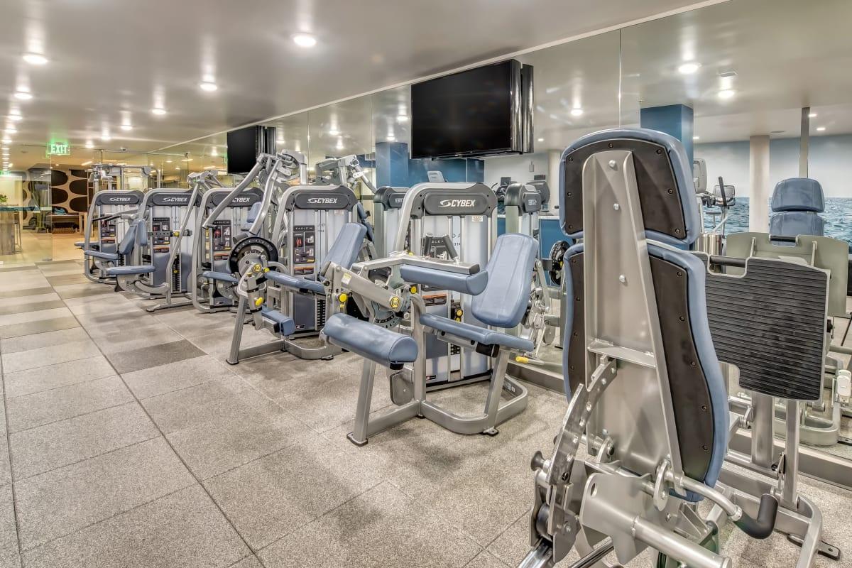 Fitness center with gym equipment at Esprit Marina del Rey in Marina del Rey, California