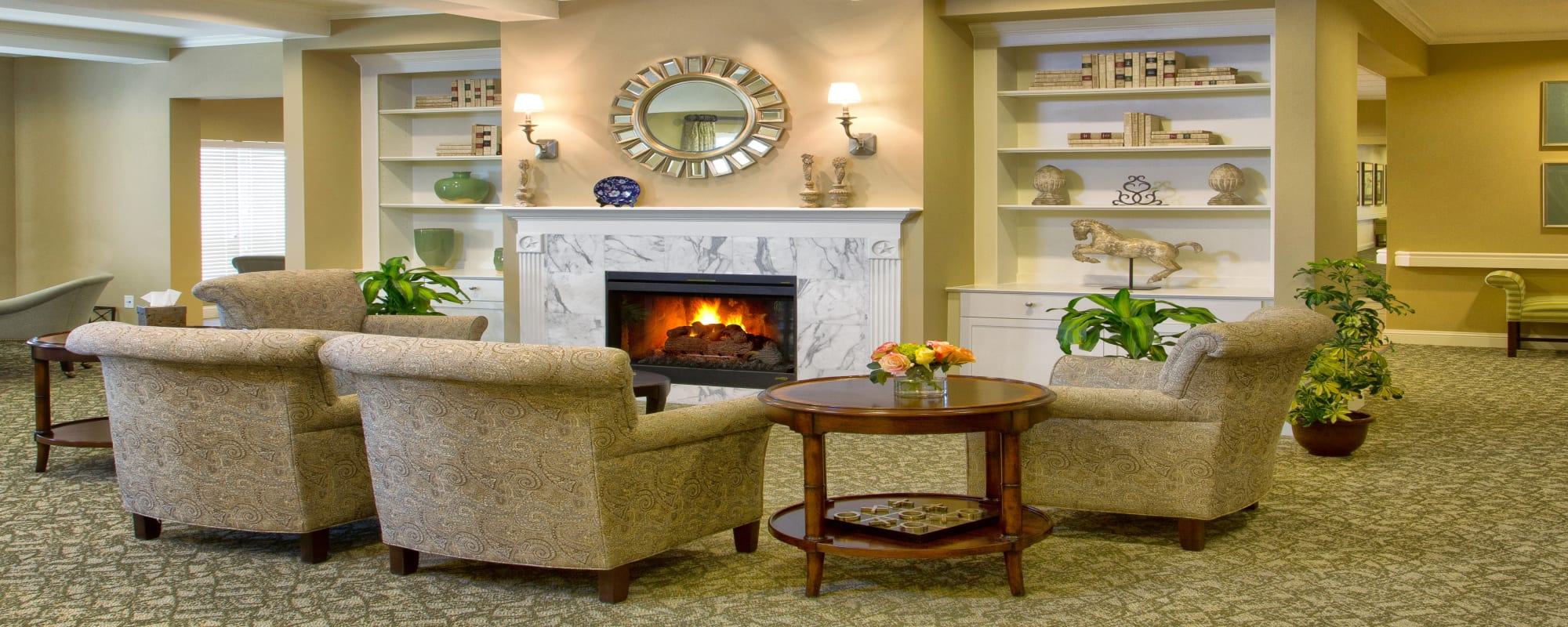 The Village of Tanglewood fireplace seating