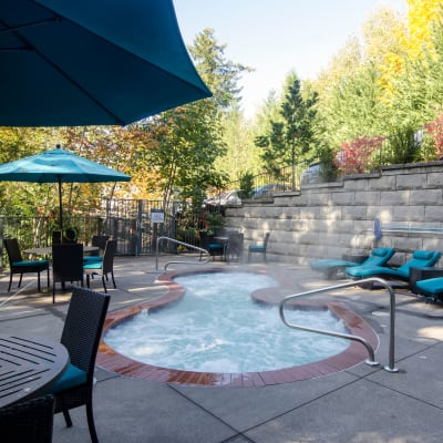Steamy spa on a crisp Northwest morning at Sofi at Forest Heights in Portland, Oregon