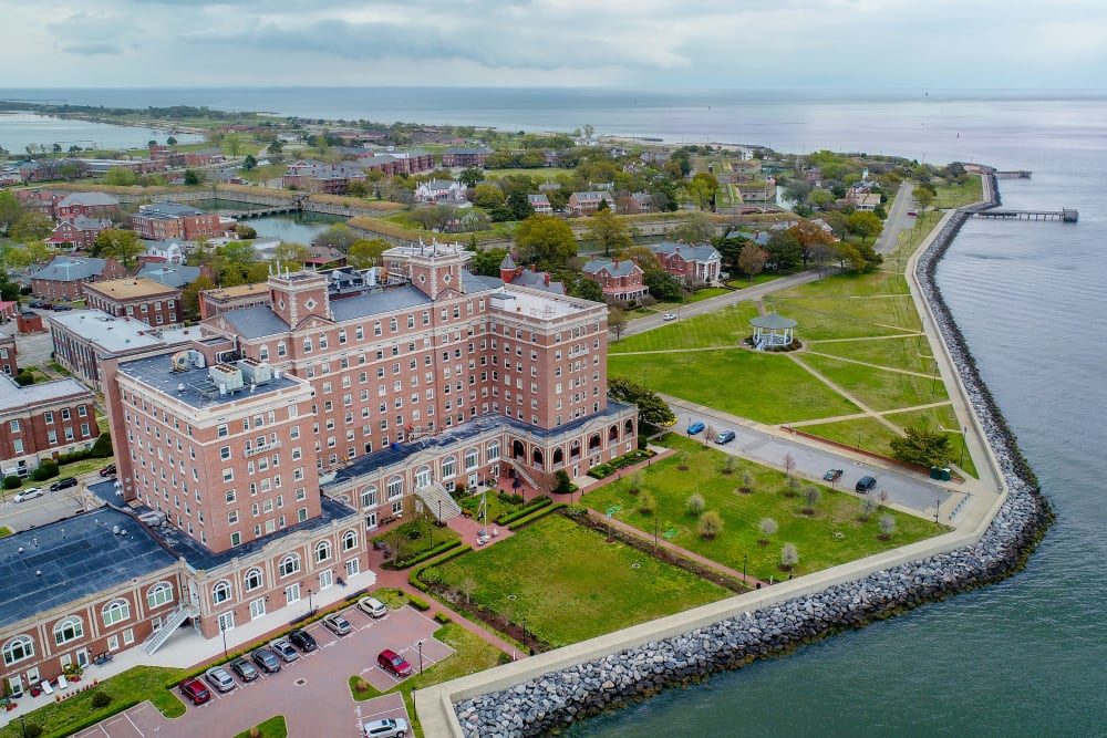 An aerial view of The Chamberlin in Hampton, Virginia