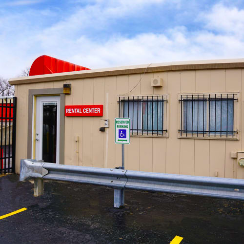 Entrance to rental center at Red Dot Storage in Gurnee, Illinois