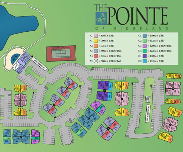 Site map for The Pointe of Ridgeland in Ridgeland, Mississippi