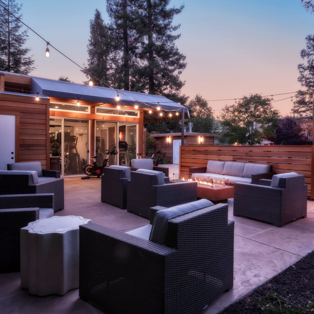 Community outdoor lounge at Brookdale Apartments in San Jose, California