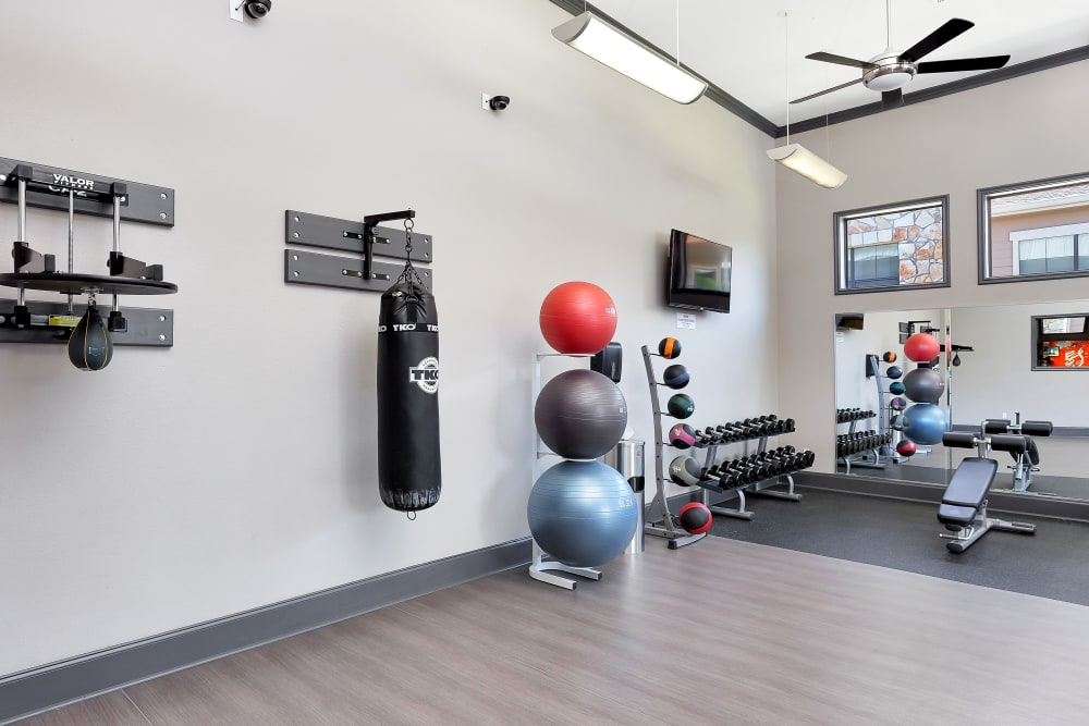 fitness center at Onion Creek Luxury Apartments in Austin, Texas