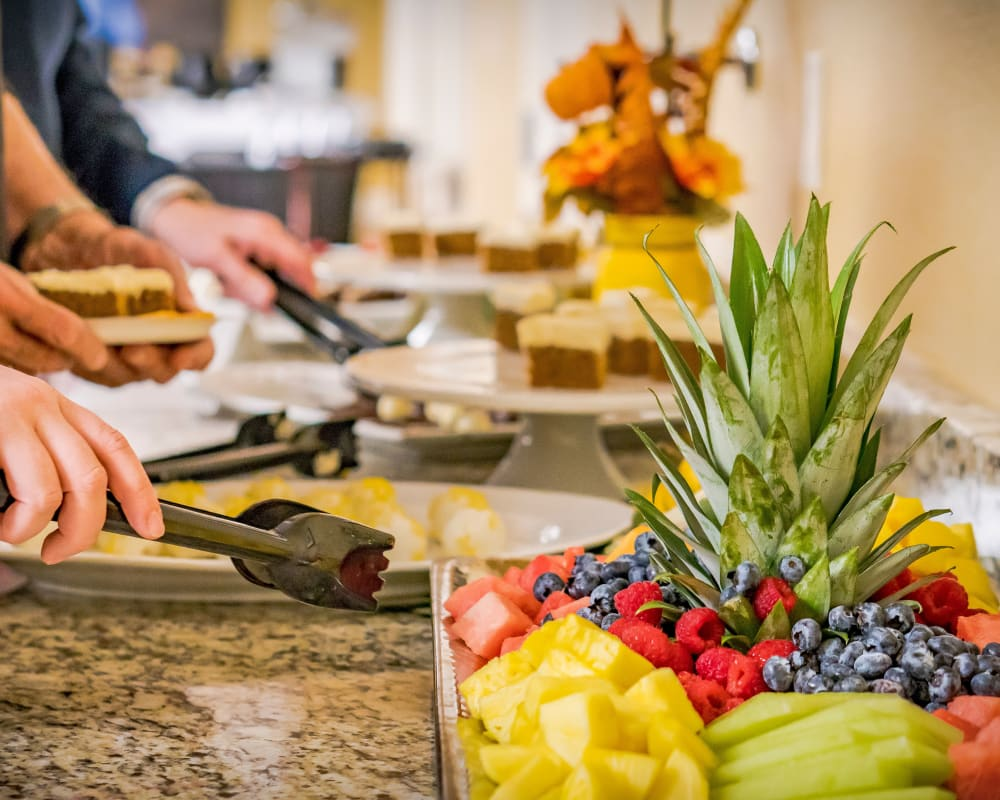 Beautiful display of fruit and desserts at Western Slope Memory Care in Grand Junction, Colorado