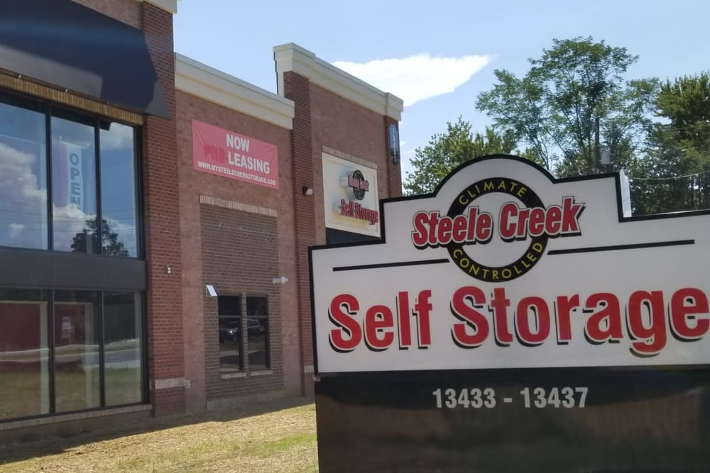 Front of building at Steele Creek Self Storage in Charlotte, North Carolina