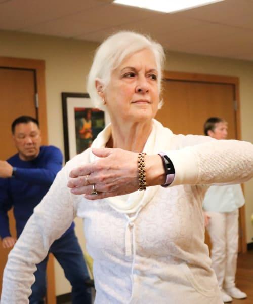 Resident exercising at The Springs at Carman Oaks in Lake Oswego, Oregon