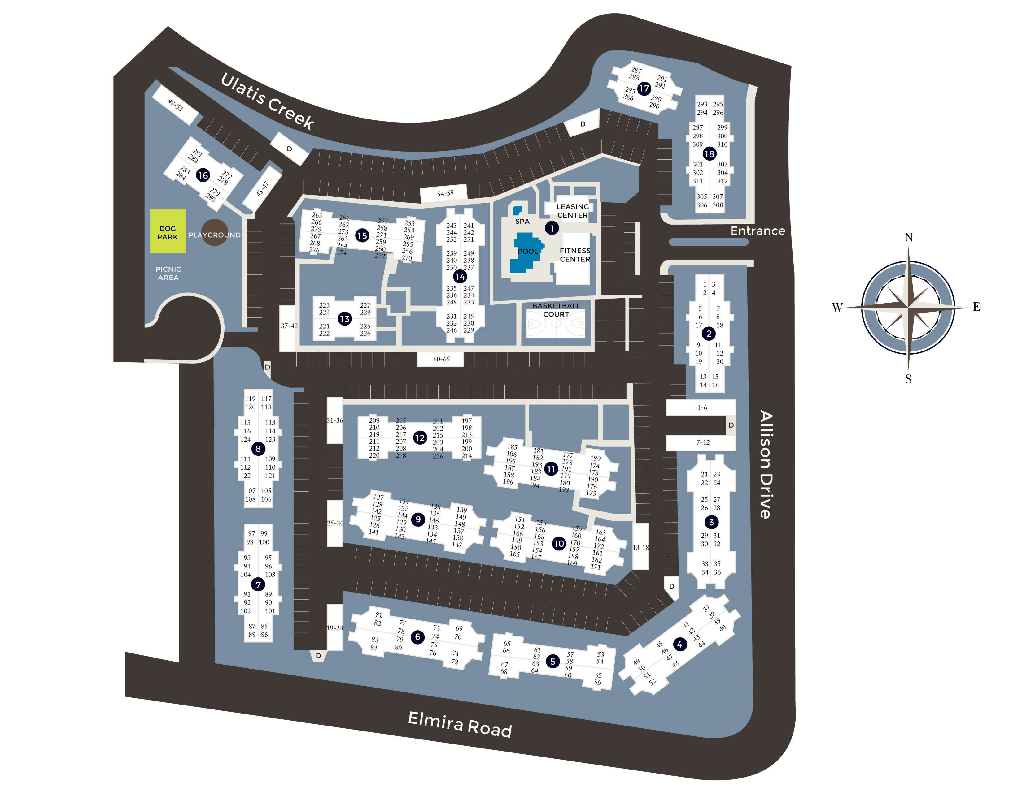 Community site map for River Oaks Apartment Homes in Vacaville, California