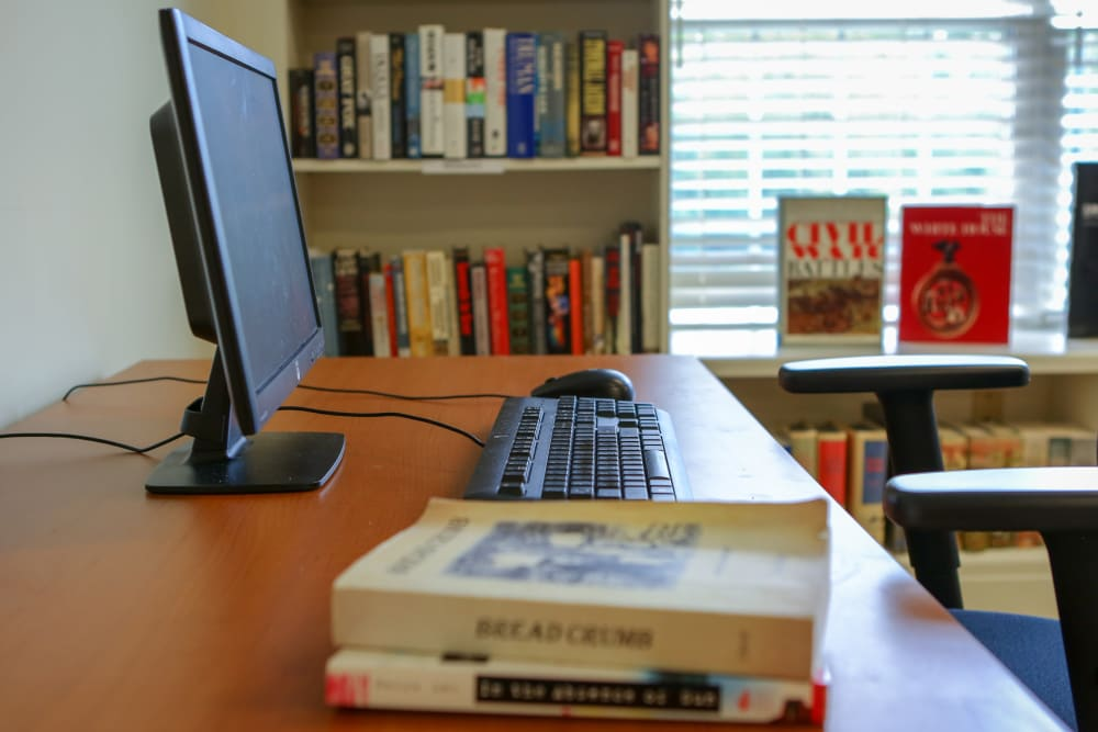 Computer access in the library at Harmony at Chantilly in Herndon, Virginia