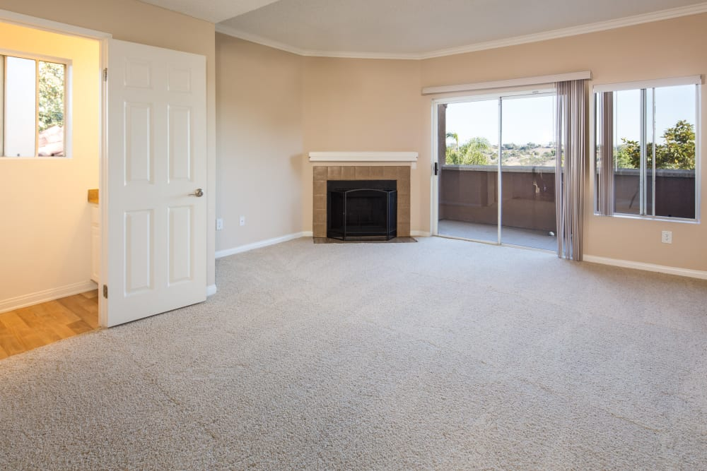 Spacious Living Room With Fireplace at Niguel Summit Condominium Rentals in Laguna Niguel, California
