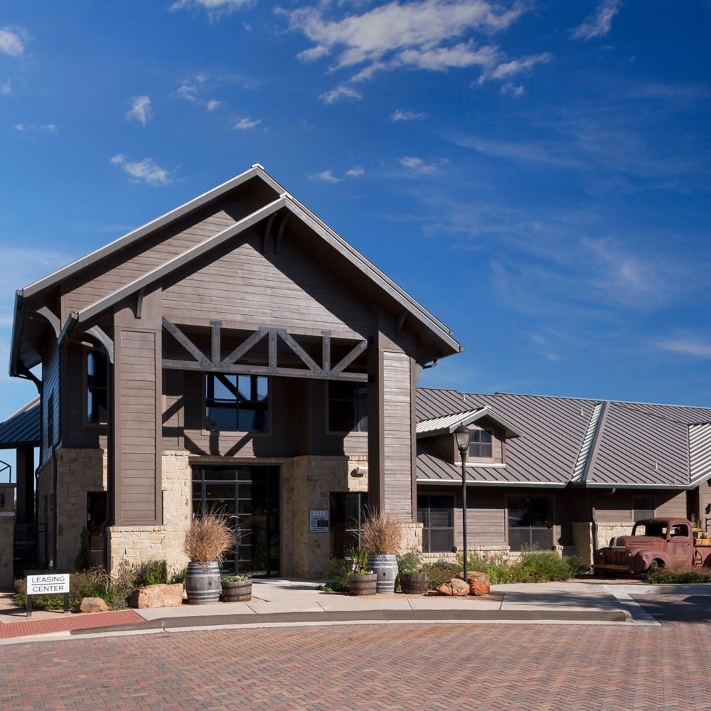 Beautiful farm-style leasing office at The Asten at Ribelin Ranch in Austin, Texas