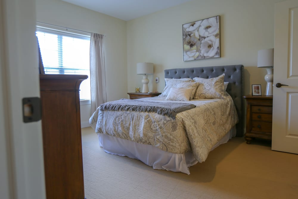 An apartment bedroom at Harmony at West Shore in Mechanicsburg, Pennsylvania